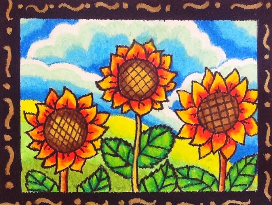 Happy Cartoon Sunflowers