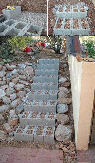 Cinder Blocks Steps