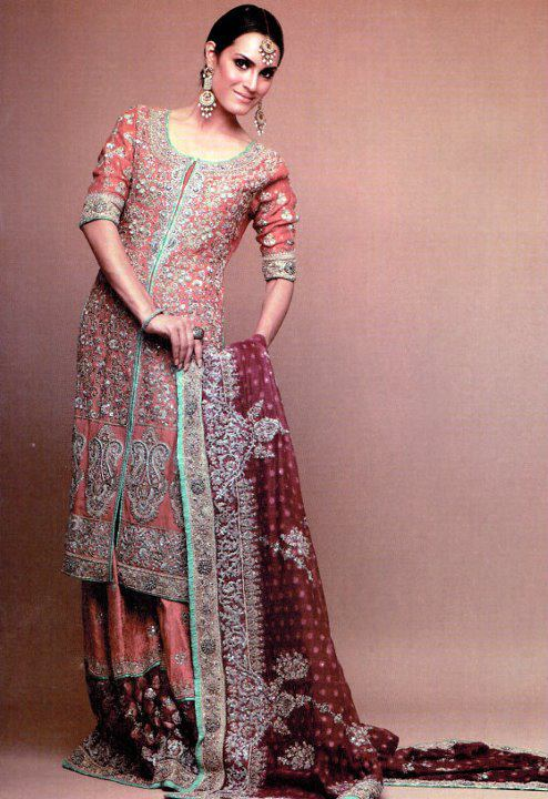 Pink and blue trim modern indian wedding dress or gown