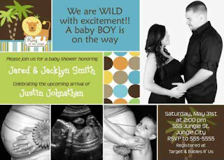 King of The Jungle Baby Boy Bay Shower Invitations