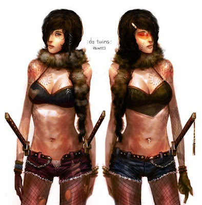 twin warrior babes with swords tattoos and daisy dukes
