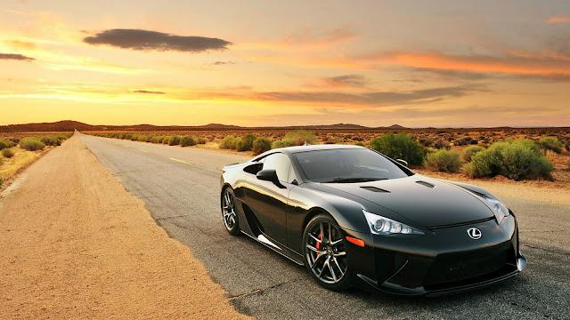Black Lexus LFA on Desert