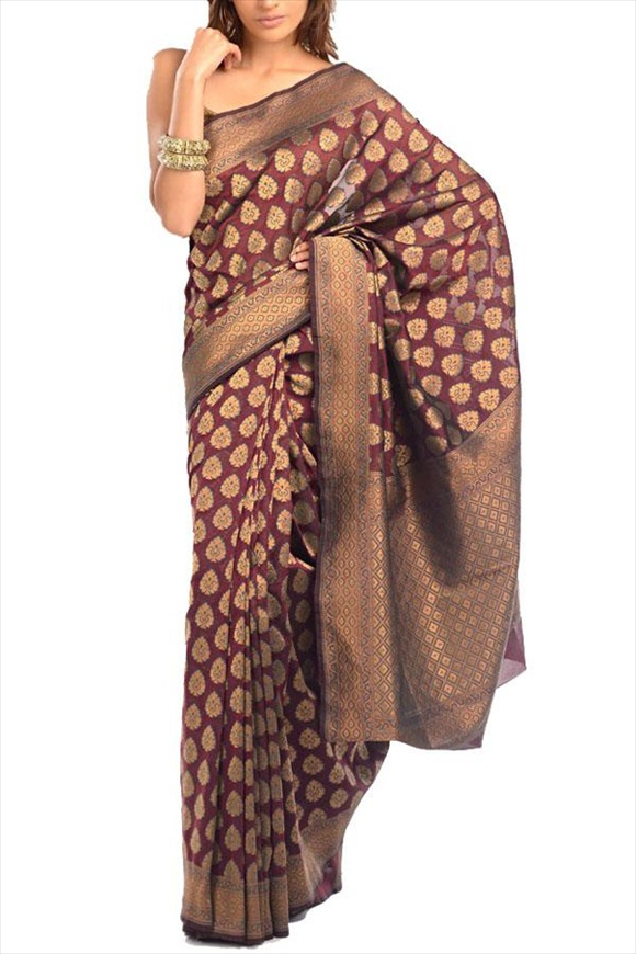 Grape Juice Georgette Banarasi Saree