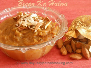 recipe of making indian halwa with gram flour, wheatflour, ghee, sugar and almonds