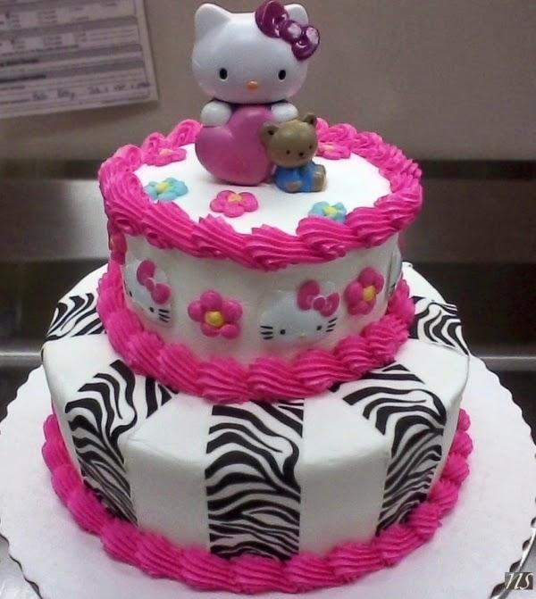 Gambar kue ulang tahun tema hello kitty tingkat warna pink