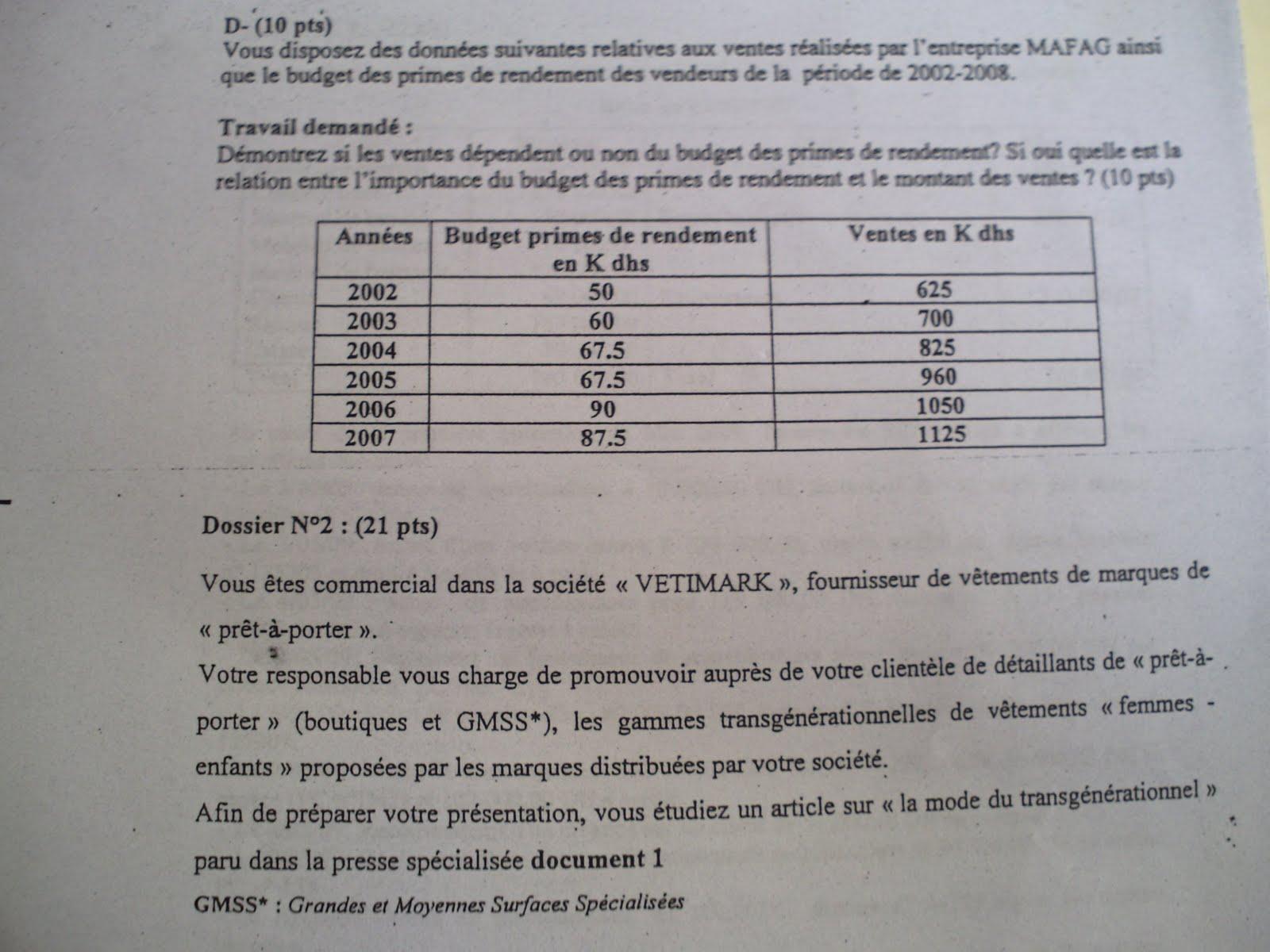 Examen de passage 2009 pratique variante 3 TSC 3
