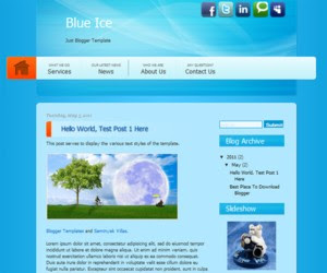 Blue Ice Blogger Template