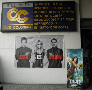 A shot of a typical day's offering at the cinema in Colombia - Hollywood top-heavy.