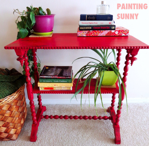 Awesome How can you not love this pretty little minty end table I just adore the girly touches Wendy from Sometimes Twice added with the stencil on top and the