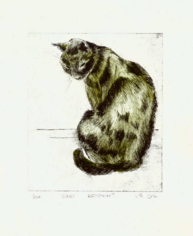 Drypoint print tortoiseshell calico cat