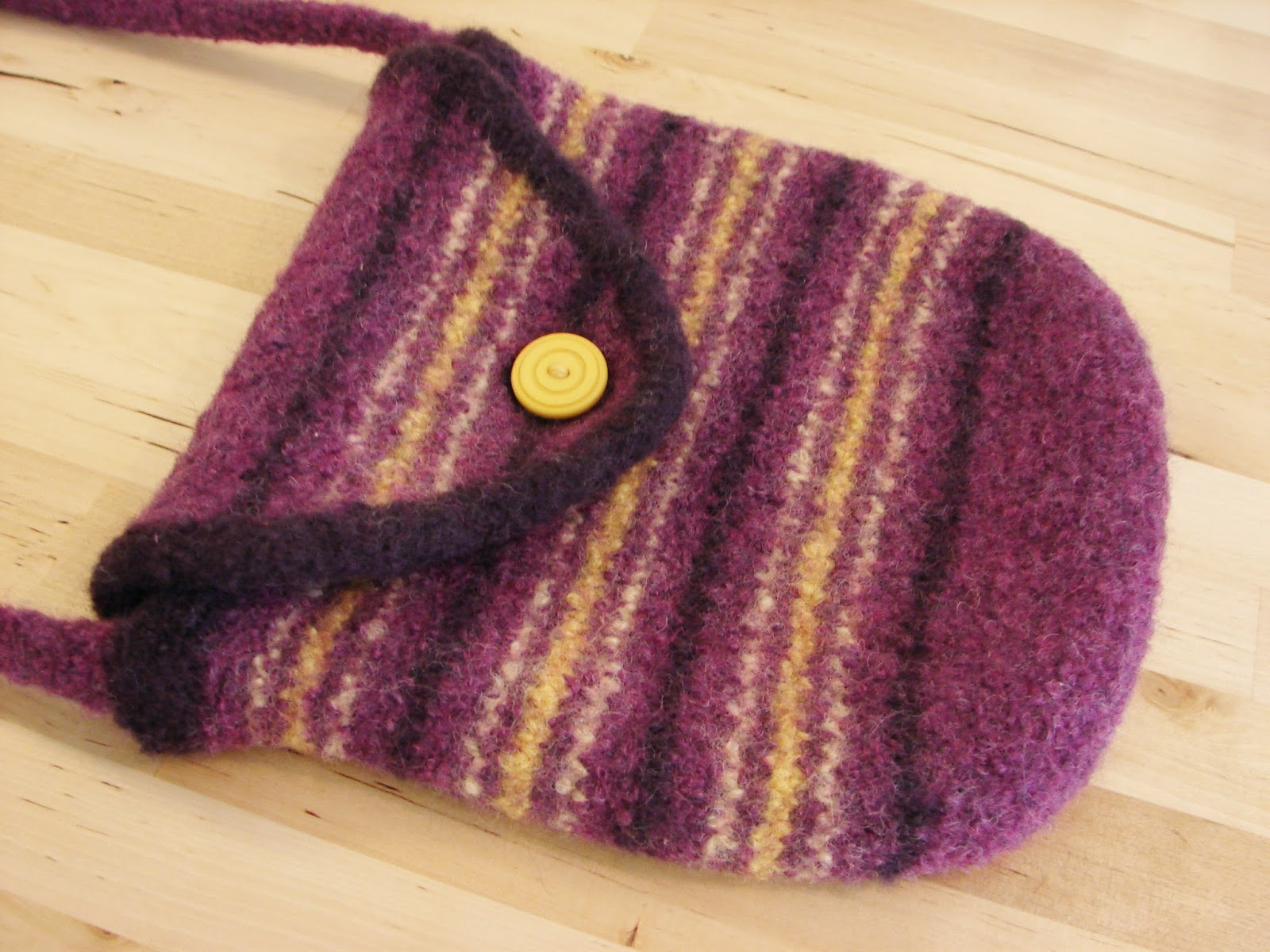 purse, bag, knitted, knit, felted, felt, striped, purple, yellow