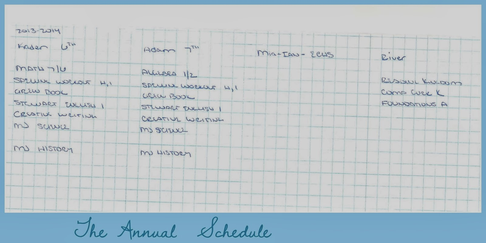 Because I'm Me home schooling essentials, the schedule and how it's organized
