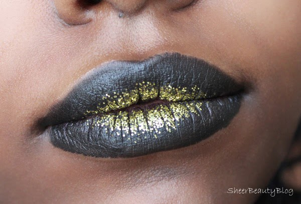 black lips with gold glitter