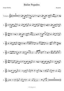 Partitura de Bailar Pegados para Trompeta Sergio Dalma Trumpet Sheet Music Bailar Pegados. Para tocar con tu instrumento y la música original de la canción