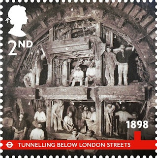 2nd class London Underground stamp - tunnel construction.