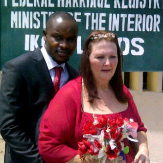 Nigerian young man and older white lover marry in lagos registry