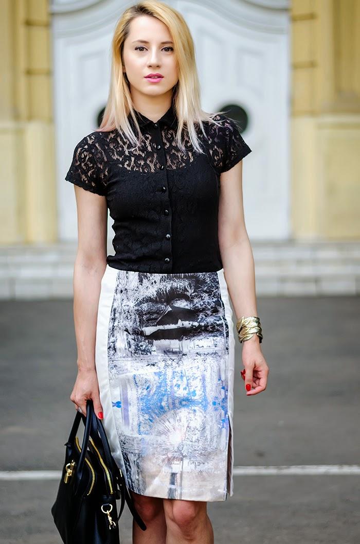 lace shirt H&M trend landscape skirt Nowistyle bag