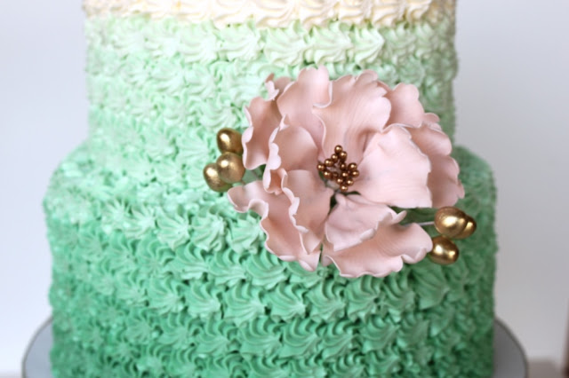 Rosette Style Ombre Cake Green and Pink