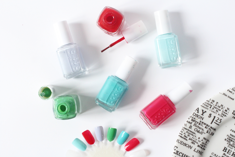 Essie Mint Candy Apple, Essie Aperitif, Essie Lilacism, Essie Mojito Madness, Essie In The Cab-ana, Essie Watermelon