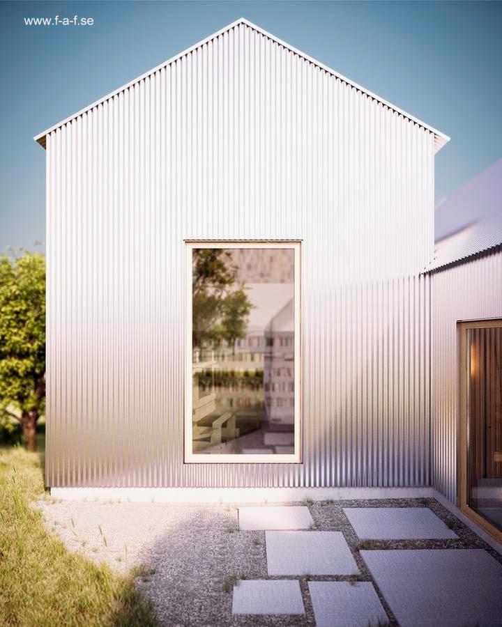 Patio trasero lateral de la casa sueca