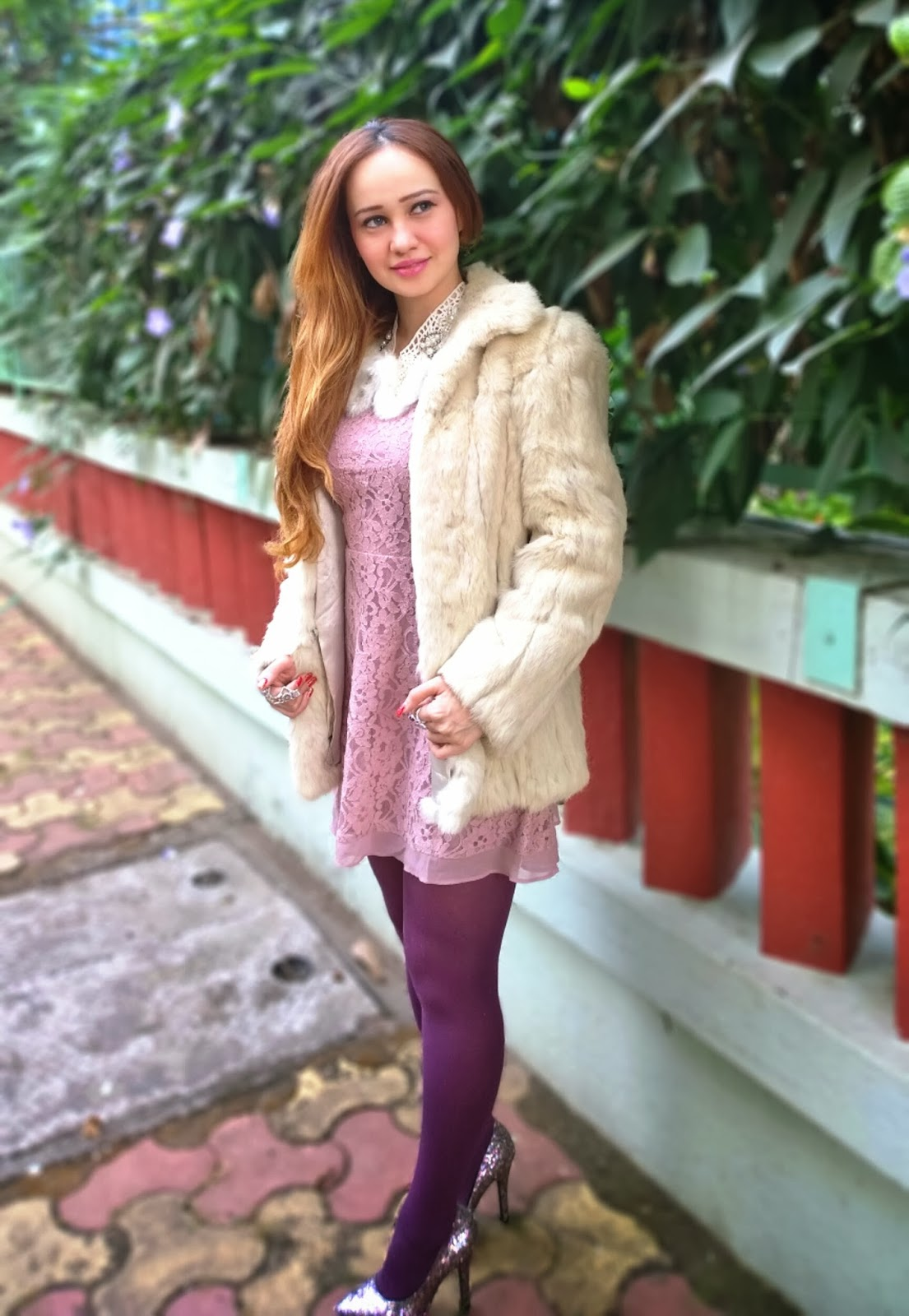 Blush lace Dress, White Faux Fur Overcoat