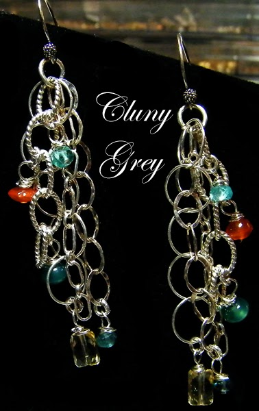 dangle earrings with gemstones and sterling silver