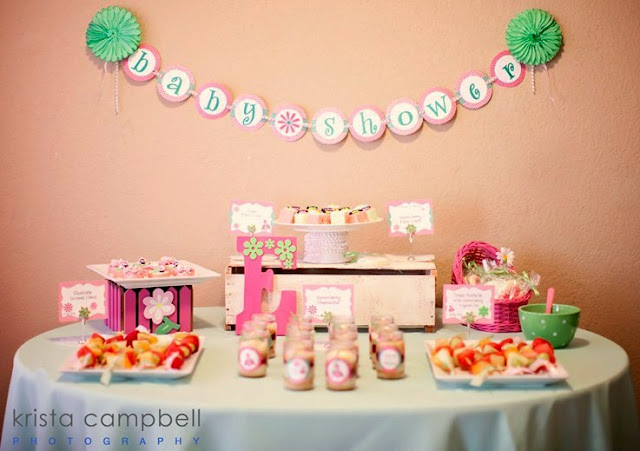 baby girl shower ideas, food table at baby shower, lil ladybug, pink