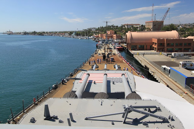 The magnificent view from the pilot's seat at Battleship USS IOWA BB61 in Los Angeles, California, USA