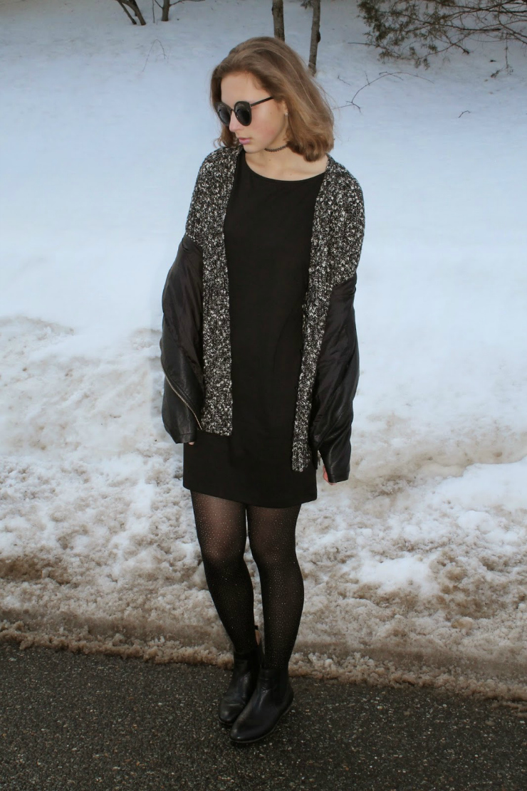 LBD, black leather jacket layered over a black and white cardiagn, Chelsea booties for a cute winter ootd