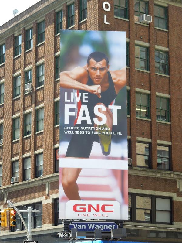 Live Fast hurdler GNC billboard NYC