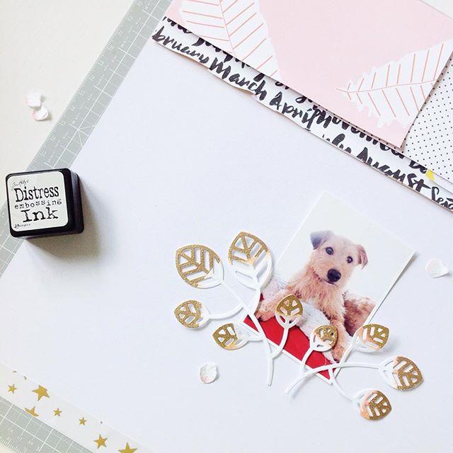 Tinte und Embossing als Effekt auf Scrapbooking Layout | Janna Werner