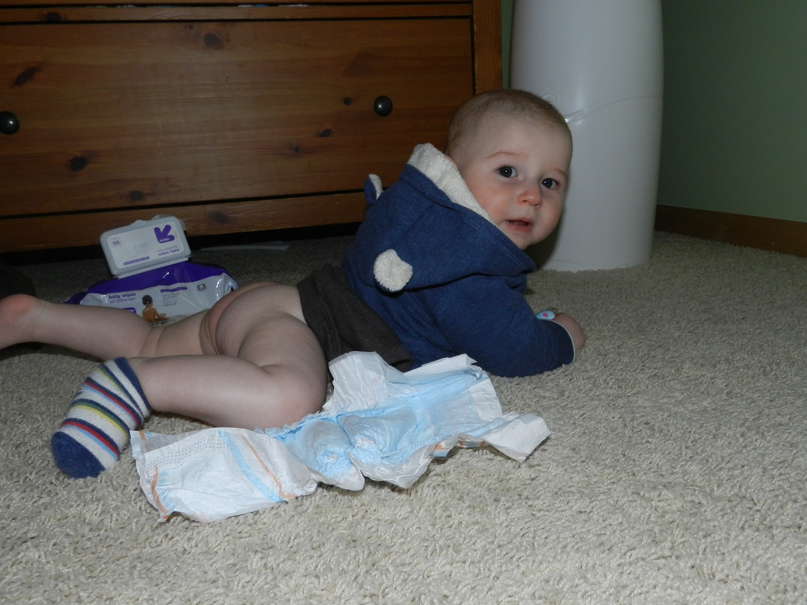 To buy some of those pull on diapers for babies who can t hold still