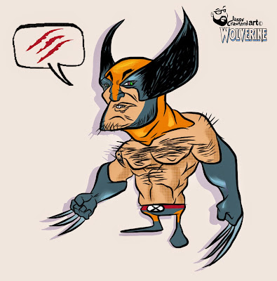 Digital illustration created in Adobe of digital character Wolverine
