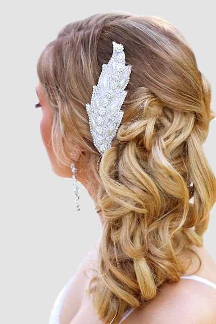 "Hand beaded, Leaf detail Wedding Hair Accessory- ""Vienna Headpiece"""