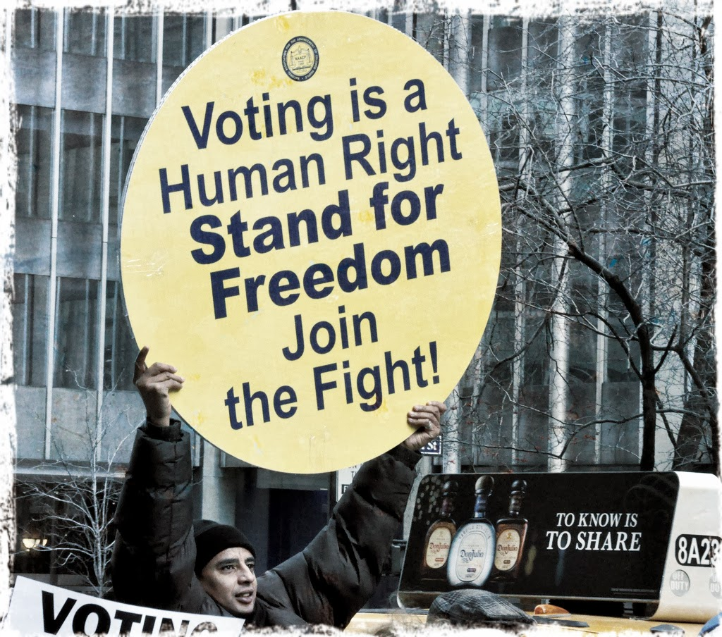 Protester with sign declaring voting a human right