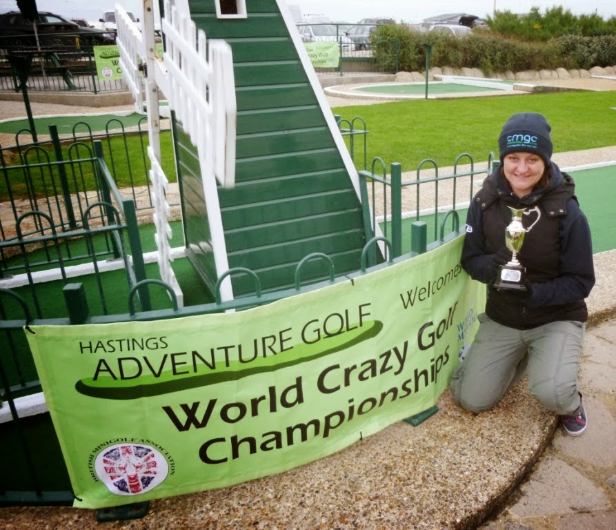 Emily won The Gommery trophy for most aces at this year's World Crazy Golf Championships in Hastings