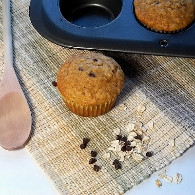 Banana Honey Oat Chocolate Chip Muffins