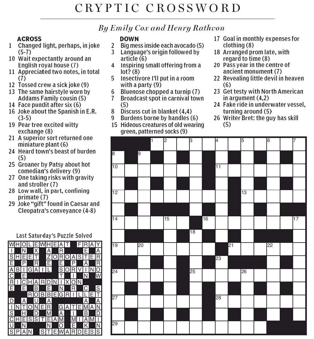 Today The National Post Serves Up A Triple Dose Of Cryptic Crosswords One To Solve Occupy Our Time On Monday And Do Yesterday