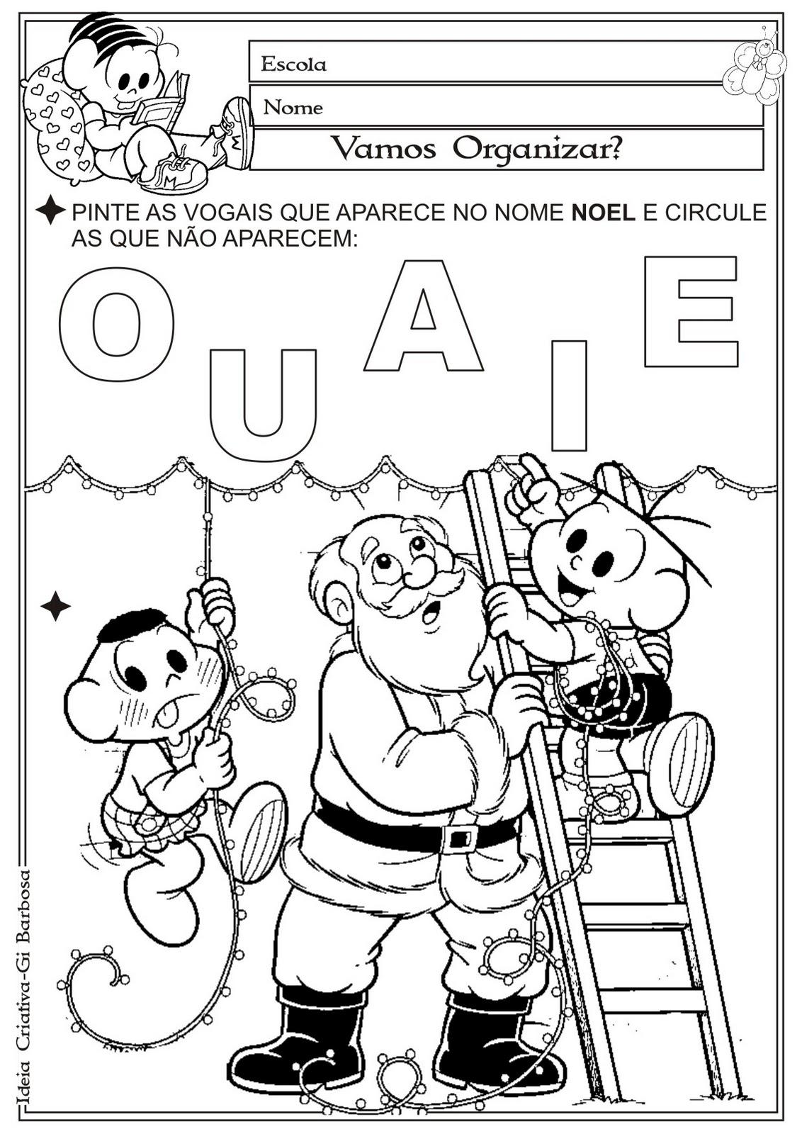 Fabuloso Atividade Vogais Natal | Ideia Criativa - Gi Barbosa Educação Infantil JT96