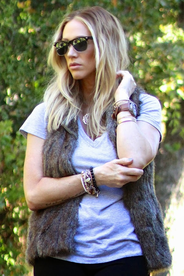 Retro Sunglasses and layered jewelry