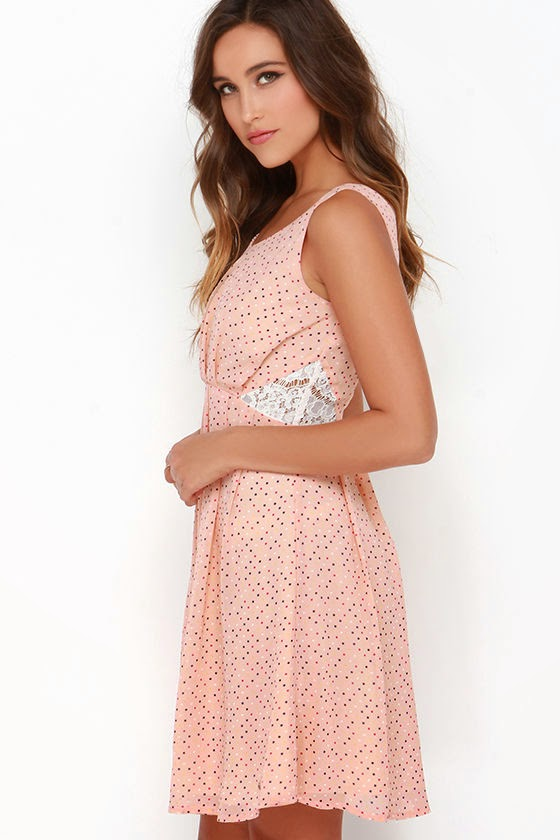 Dolomita Peach Polka Dot Dress