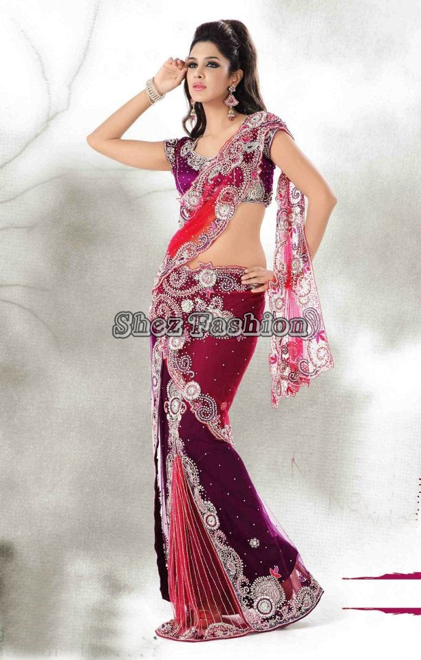Shez Fashion Net Embroidered Sarees 2013  Bridal Wear