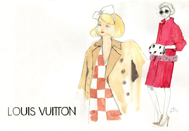 illustration streetstyle sketch / louis vuitton and red coat ermine girl