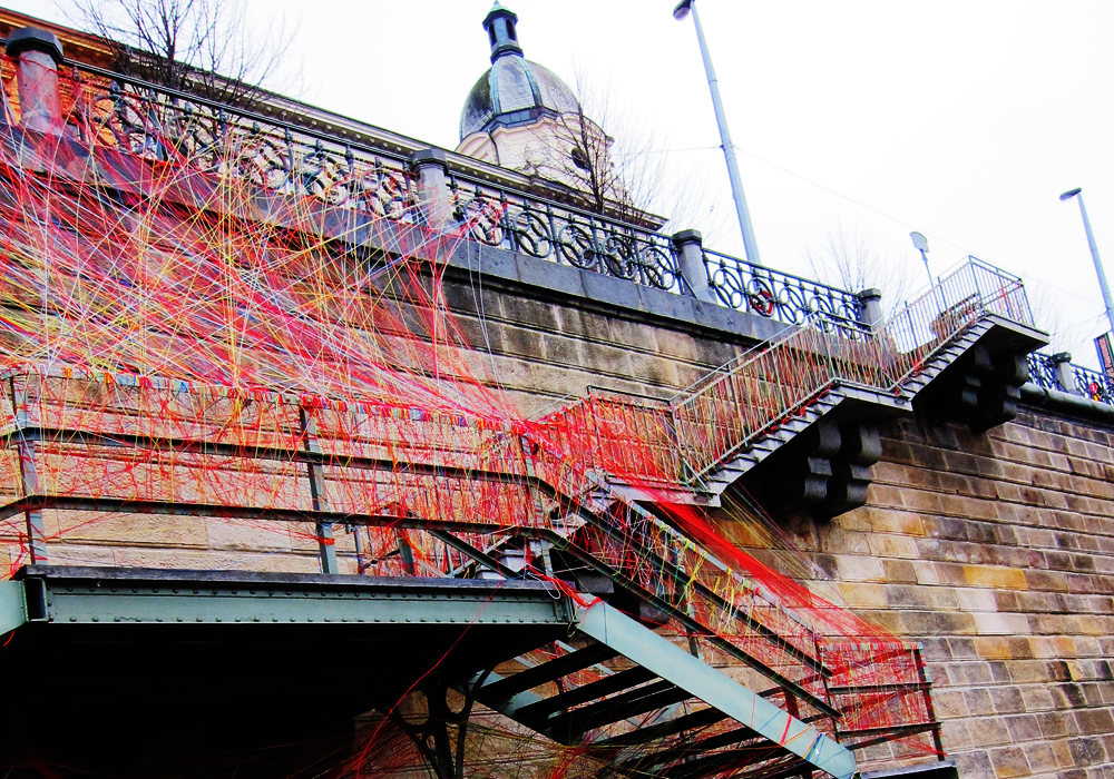 string art on the Vlatava River, Prague