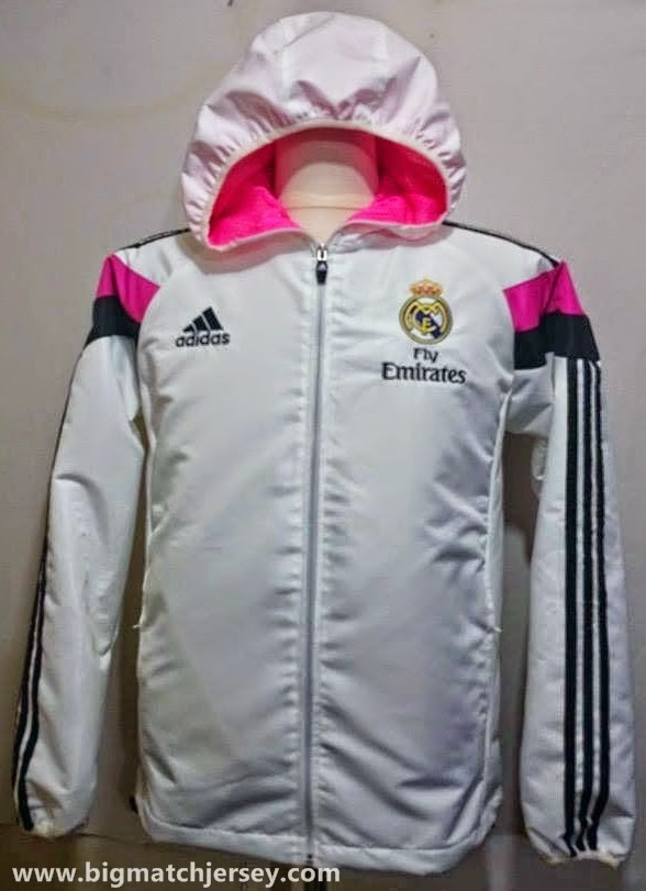 Gambar Jaket Waterproof Real Madrid Anthem White 2014-2015