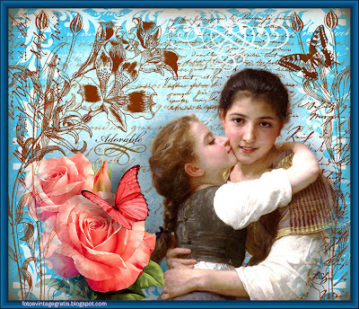 fondo vintage niñas Bouguereau en azul con flores y mariposa