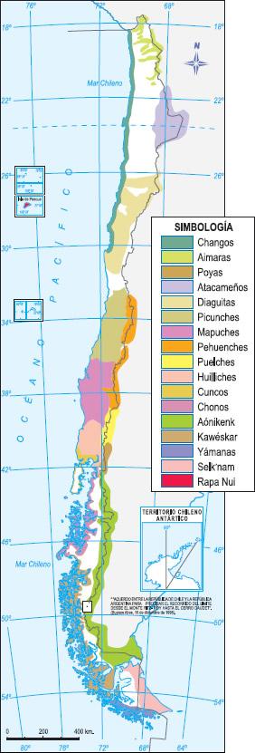 Ubicación de lo pueblos originarios de Chile