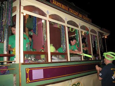 Streetcar float:  Downtown Irish Club Parade, St Patrick's Day 2012, NOLA