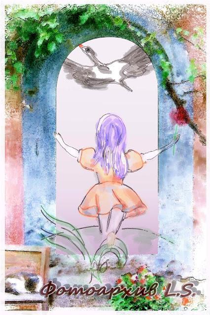 рисунок девочки с аистом
