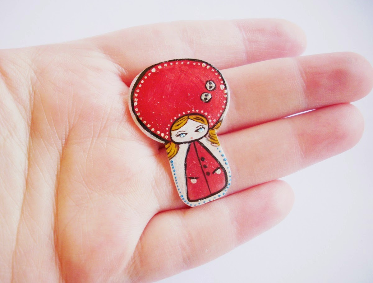red ridding hood, painted stories, red jewelry, red handmade girl, handmade painted girl,